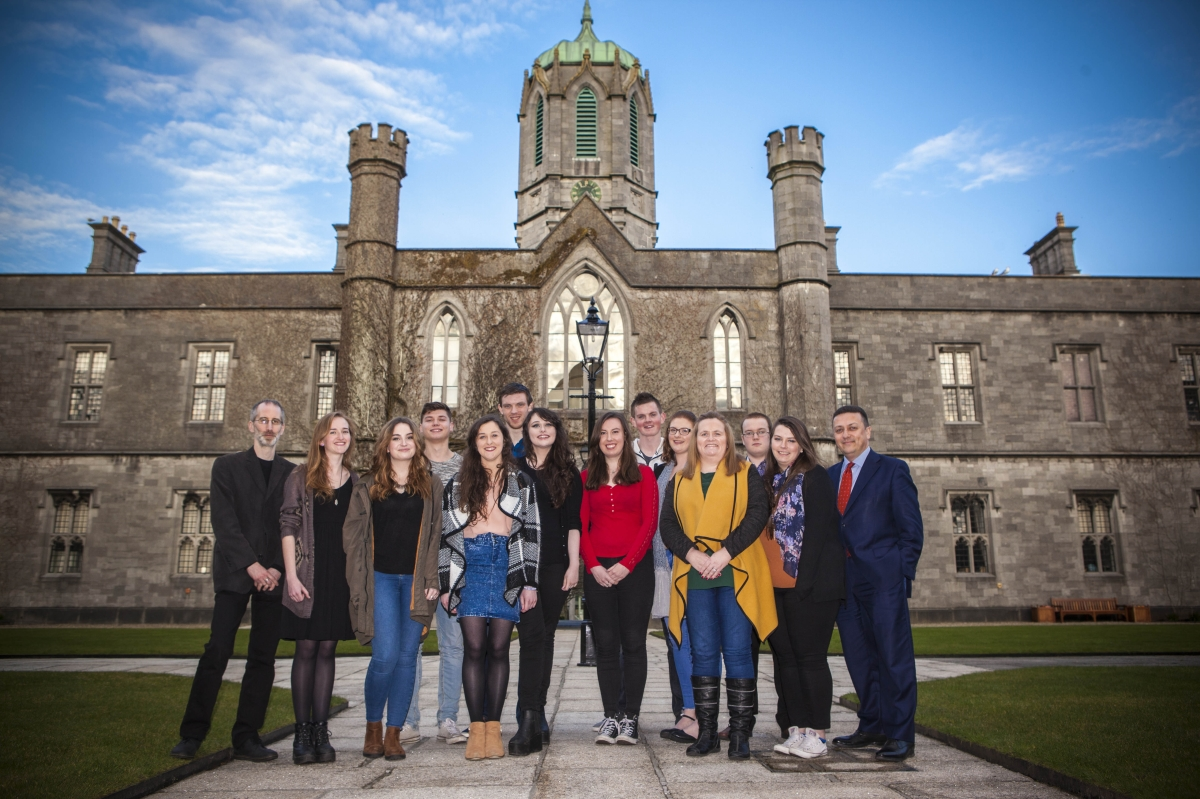 2015/16 BA in Law Student Leaders with Dr. Rónán Kennedy, Law Lecturer and CÉIM Coordinator, and Prof. Donncha O'Connell, Head of the School of Law.
